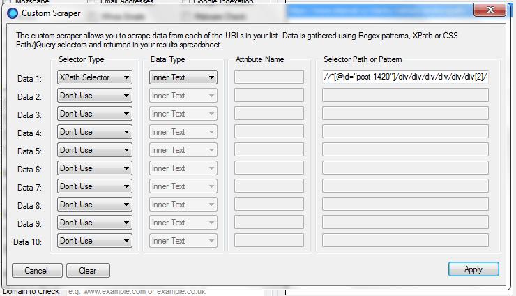 URL Profiler - Custom Scraper