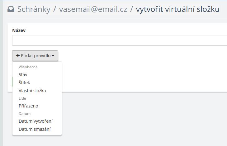 Možnosti pravidel pro virtuální složku