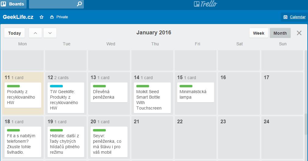 Obsahový kalendář pro dalších pár dnů u GeekLIfe.cz.