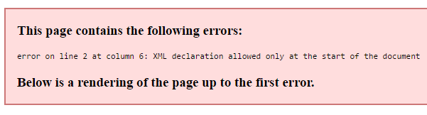 This page contains the following errors: error on line 2 at column 6: XML declaration allowed only at the start of the document Below is a rendering of the page up to the first error.