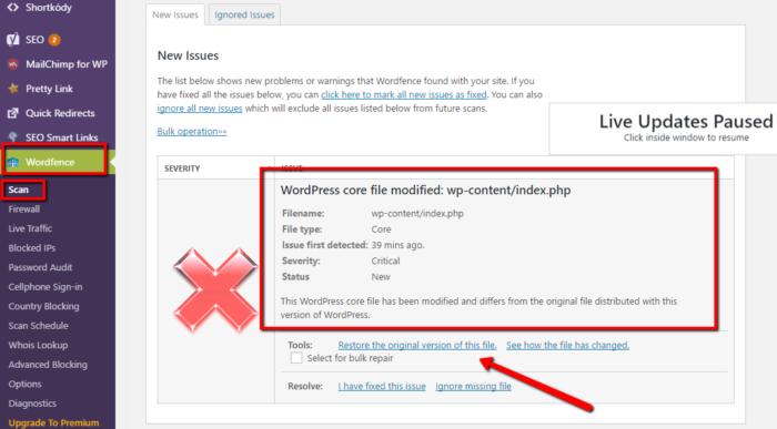 Varování na změnu souboru ve Wordfence