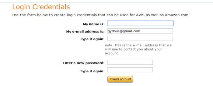 První krok registrace na AWS